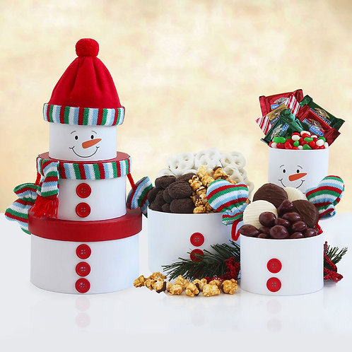 Tower of Holiday Snowman Treats