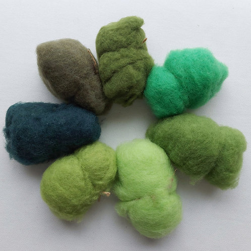 New Zealand carded wools shade pack in Green