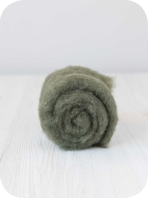 Carded New Zealand wool in Moss