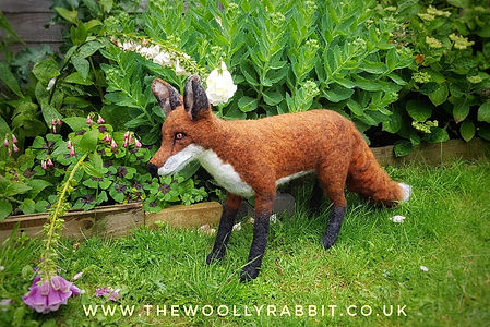 needle felted fox stuffed with plastic