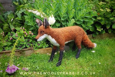 needle felted fox stuffed with plastic