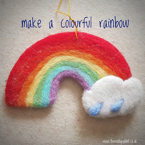 Needle felted Rainbow kit (makes 2 rainbows)