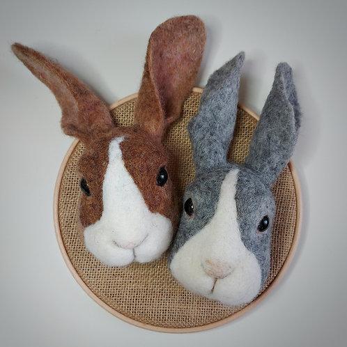 Bunny Head needle felting pack (makes 2 bunny heads on a hoop)