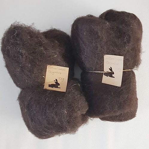 Bergschaf carded batting in undyed natural brown