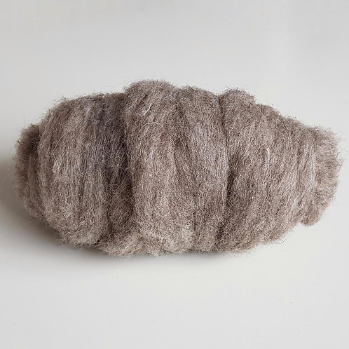 Carded Shetland Sliver in natural grey