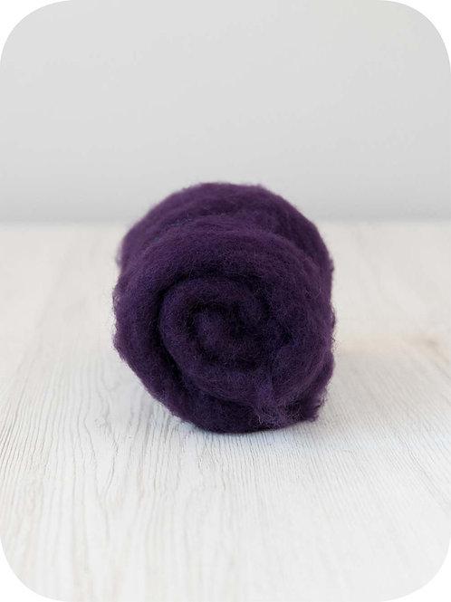 Carded New Zealand wool in Blackberry