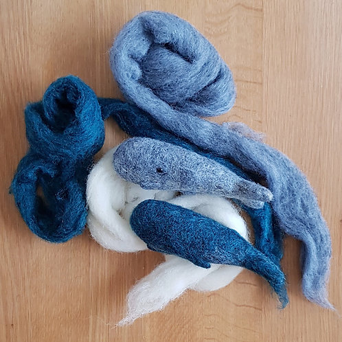 Needle Felted Sperm Whale kit (makes 2)