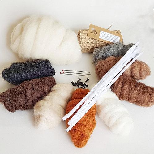 Animal themed needle felting starter pack