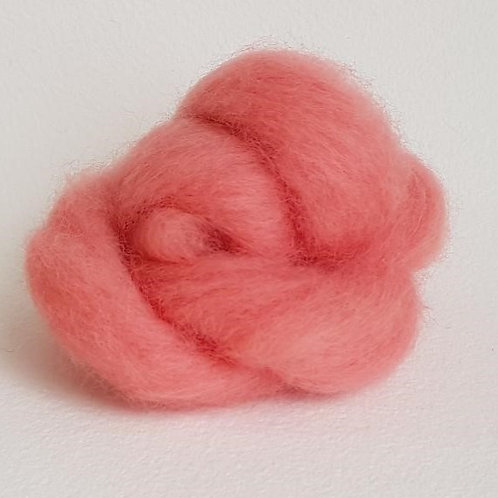 Carded Corridale Sliver in Salmon Pink