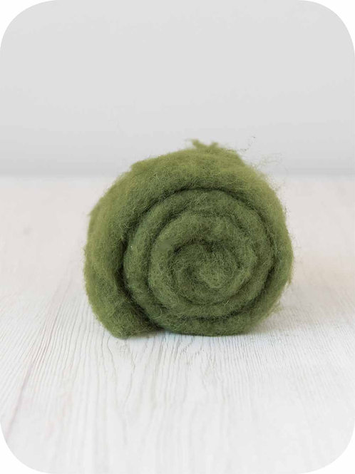 Carded New Zealand wool in Ivy