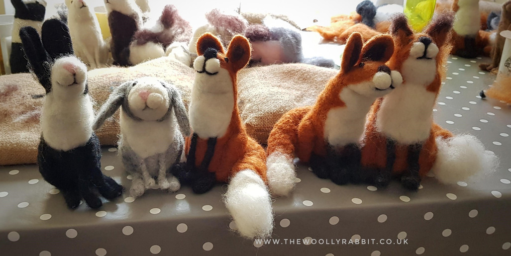 needle felted fox, rabbit and badger wor