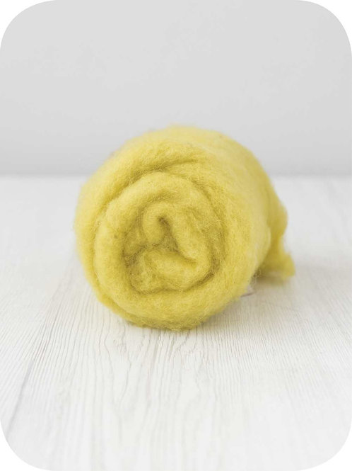 Carded New Zealand wool in Citron