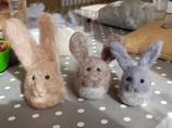 Needle felted birthday rabbits!