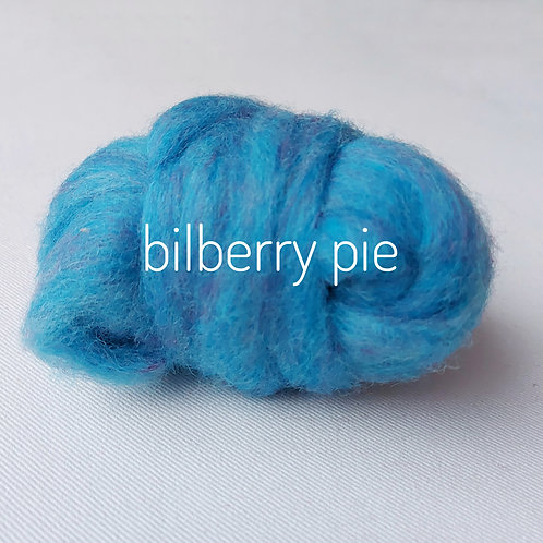 Tutti Frutti Melange carded Corridale sliver in Bilberry Pie