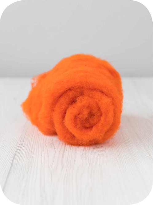 Carded New Zealand wool in Orange