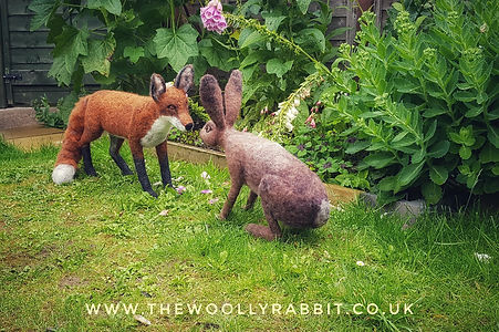Needle felted red fox and hare