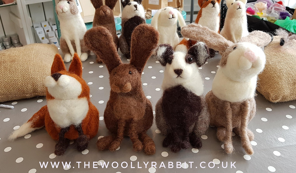 Needle felted fox, rabbit, hare and fox using carded slivers