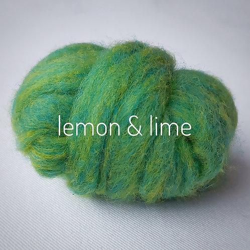 Tutti Frutti Melange carded Corridale sliver in Lemon & Lime