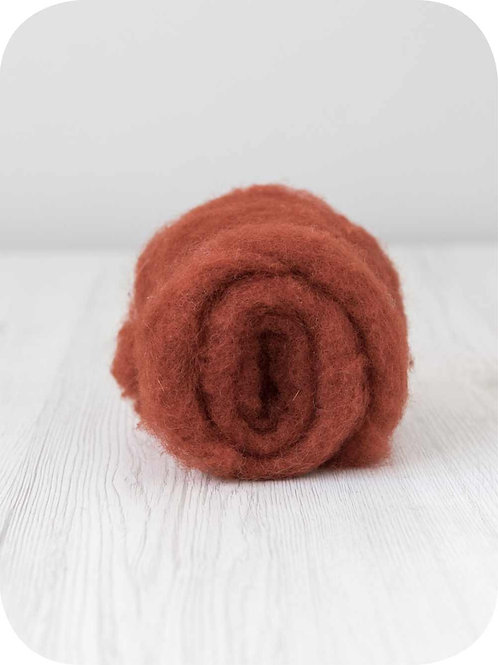Carded New Zealand wool in Rust