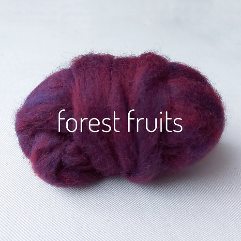 Tutti Frutti Melange carded Corridale sliver in Forest Fruits