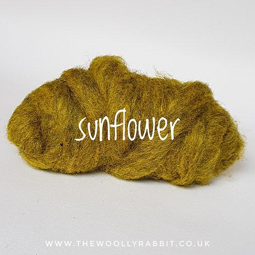 Galaxy Melange carded Corridale sliver in Sunflower