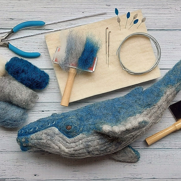 Humpback whale needle felting online course. Whale with wool and felting tools