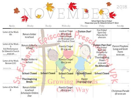 November Calendar of Event