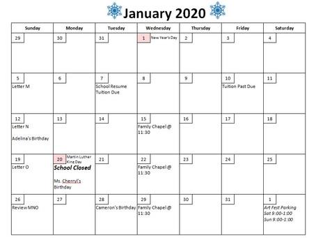 January 2020 Calendar of Events