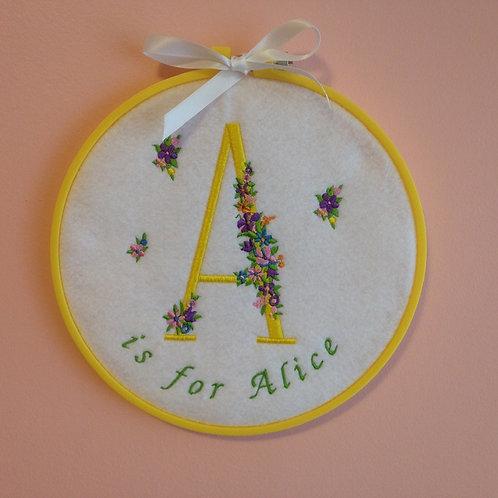 Floral Monogram - Custom Embroidery Hoop Art