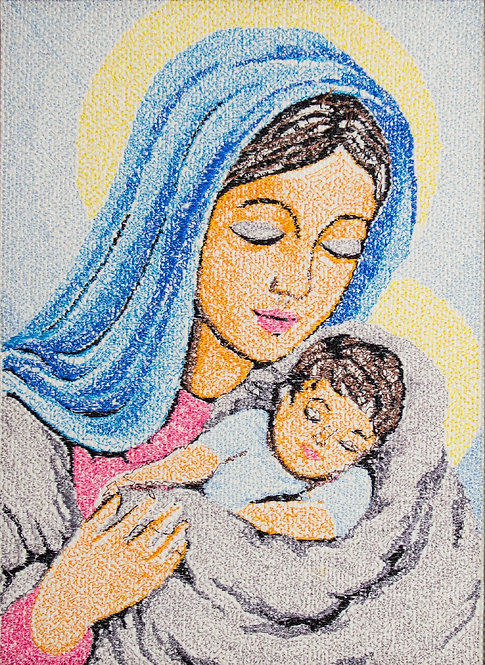 """Embroidered icon """"Madonna and Child"""""""
