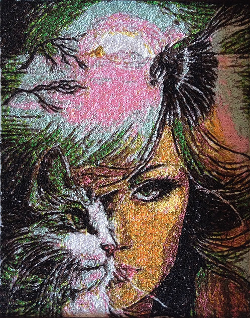 """Embroidered picture """"Girl, Cat and Bird"""""""