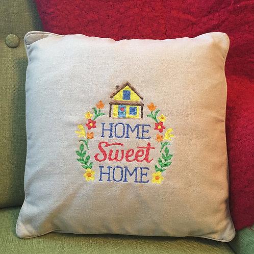 Home Sweet Home Embroidered Throw Pillow