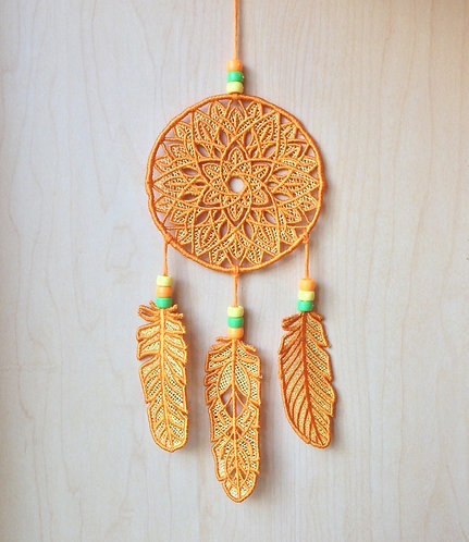 Orange and Yellow Lace Dream Catcher