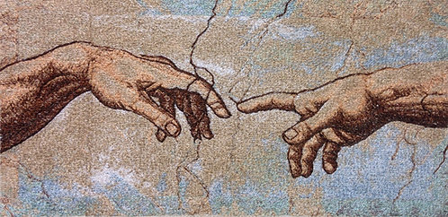 "Embroidered painting ""The Creation of Adam. The Hands"""