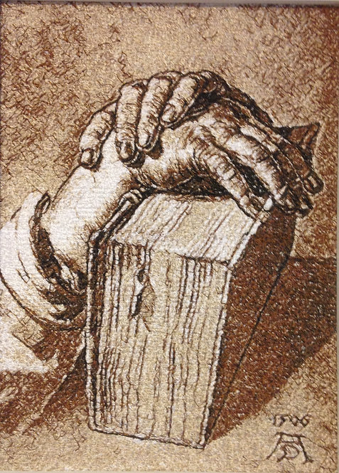 "Embroidered picture ""Hand Study with Bible"""