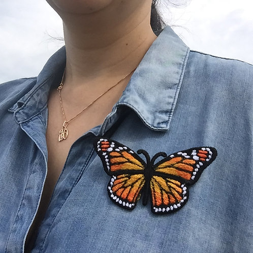 Monarch Butterfly Embroidered brooch