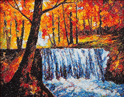"""Embroidered picture """"The Waterfall"""""""