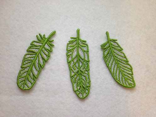 Green and White Lace Embroidered Feathers - Set of 3