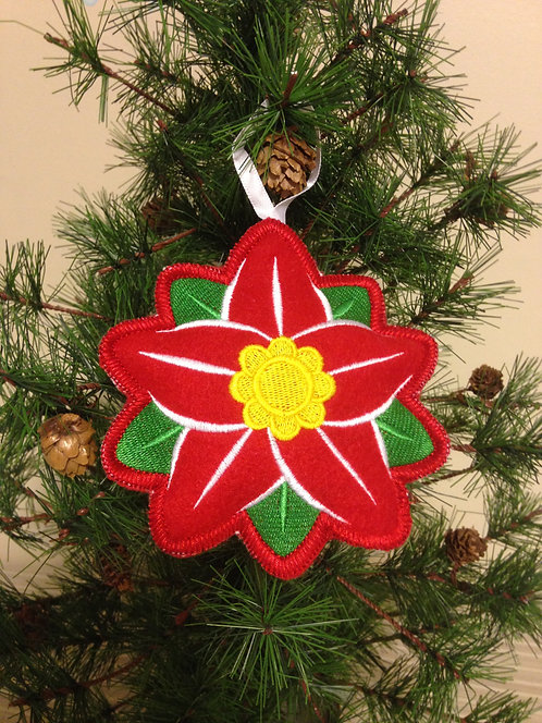 Christmas Tree Stuffed Ornament - Poinsettia