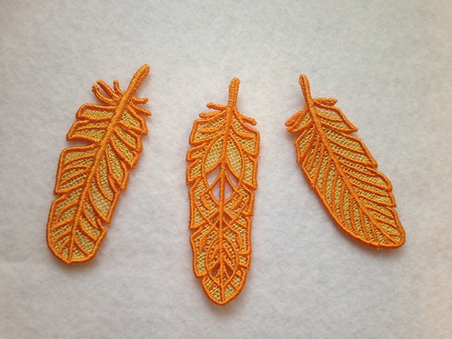 Orange and Yellow Lace Embroidered Feathers - Set of 3