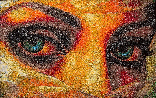 "Embroidered picture ""Mysterious Eyes"""