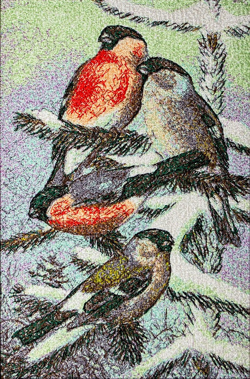 "Embroidered picture ""Bullfinches"""
