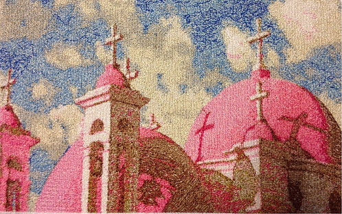 "Embroidered picture ""Church of 12 Apostles in Capernaum"""