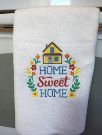 gift of embroidery  on towel Home sweet