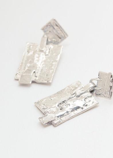 Fluid silver one of a kind earrings