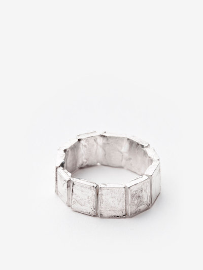 Rough wide Polyptych ring in silver