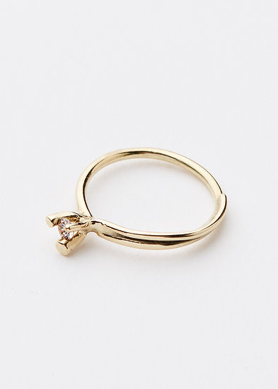 Delicate offshoot ring with natural light brown diamond