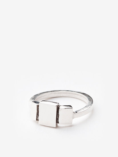 Triptych ring plain silver
