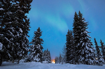 Aurora with shooting stars in Alaska