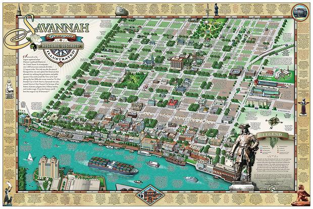 savannah historic district illustrated map award